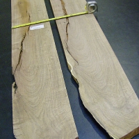 "The two mesquite boards I chose, 7"" wide and pretty clean"