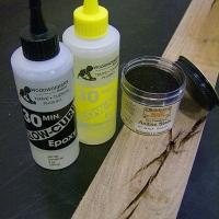 Two part epoxy with black aniline dye