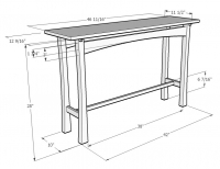 illustration of a hall table made out of wood
