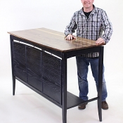 urban rustic standing desk ebonized ash American walnut top