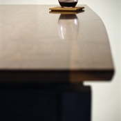 walnut desk top finish reflection finish shine