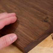 With a closer look at the finished walnut you'll see that the grain is nicely filled and slightly darkened.