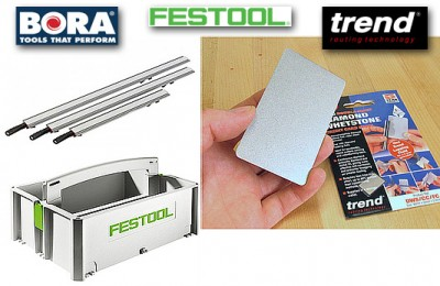 The elected winner among the tables shown below wins this selection of tools; Bora Wide Track Clamp Edge Set, Festool Toolbox, Trend diamond sharpening stone