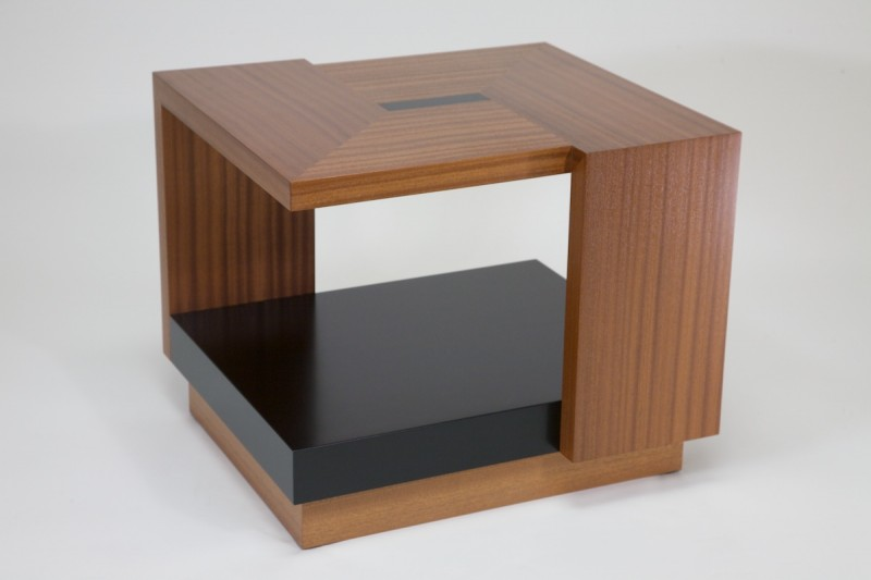 1ST PLACE WINNER -- Bill Barrand's table is a veneered open cube with a waterfall appearance