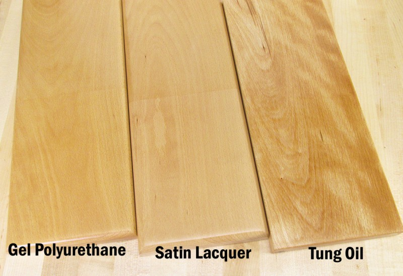 european beech with 3 clear finishes compared