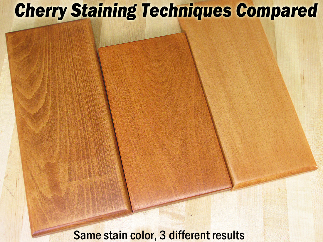 Can i stain over stain - The Same Cherry Colored Oil Stain Is Applied To Each Board Yet There Are Three