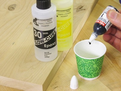 Add a drop or two of tint to your epoxy.
