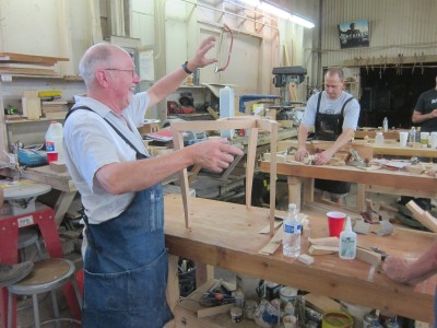 Michael Fortune conducts a lively discussion on the art of building custom made tables