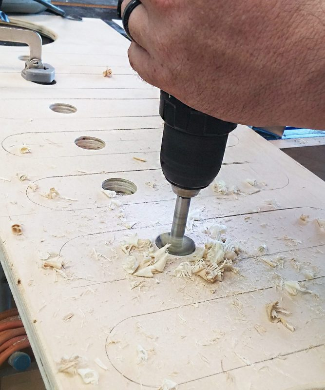 drilling holes with forstner bit