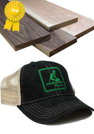 walnut, cherry with hat