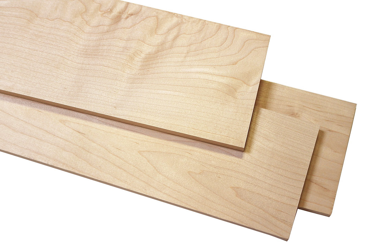"Maple Hard White Dimensioned Hobby Boards 3/4"" x 5.5"" x 6'"